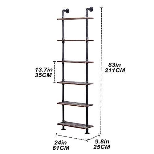 Ucared Industrial Shelving 6 Tier Modern Wood Ladder ShelfDesign Rustic BookshelfDIY Vintage Pipe ShelvesWall ShelvesDisplay ShelvingWood Shelves Utility Storage Rack 0 3