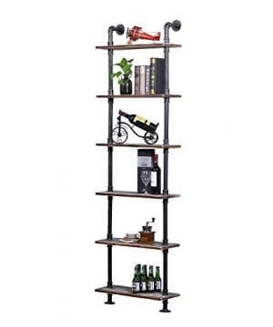Ucared Industrial Shelving 6 Tier Modern Wood Ladder ShelfDesign Rustic BookshelfDIY Vintage Pipe ShelvesWall ShelvesDisplay ShelvingWood Shelves Utility Storage Rack 0 300x360