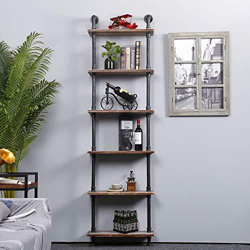 Ucared Industrial Shelving 6 Tier Modern Wood Ladder ShelfDesign Rustic BookshelfDIY Vintage Pipe ShelvesWall ShelvesDisplay ShelvingWood Shelves Utility Storage Rack 0 4