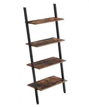 VASAGLE Industrial Ladder 4 Tier Bookshelf Shelf For Living Room Kitchen Office Iron Stable Sloping Leaning Against The Wall Rustic Brown ULLS43BX 0 300x360