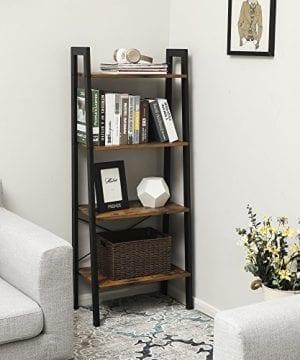 VASAGLE Vintage Ladder Shelf 4 Tier Bookshelf Storage Rack Shelf Unit Bathroom Living Room Wood Look Accent Furniture Metal Frame ULLS44X 0 1 300x360