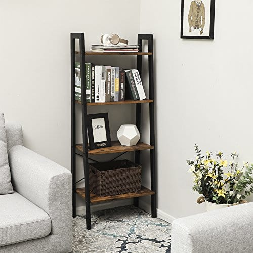 VASAGLE Vintage Ladder Shelf 4 Tier Bookshelf Storage Rack Shelf Unit Bathroom Living Room Wood Look Accent Furniture Metal Frame ULLS44X 0 1