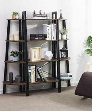 VASAGLE Vintage Ladder Shelf 4 Tier Bookshelf Storage Rack Shelf Unit Bathroom Living Room Wood Look Accent Furniture Metal Frame ULLS44X 0 2 300x360