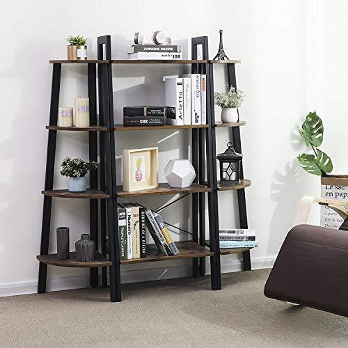 pretty nice 9bd43 17bf9 VASAGLE Industrial Ladder Shelf, 4-Tier Bookshelf, Storage Rack Shelves,  Bathroom, Living Room, Wood Look Accent Furniture, Metal Frame, Rustic  Brown ...