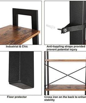 VASAGLE Vintage Ladder Shelf 4 Tier Bookshelf Storage Rack Shelf Unit Bathroom Living Room Wood Look Accent Furniture Metal Frame ULLS44X 0 3 300x360