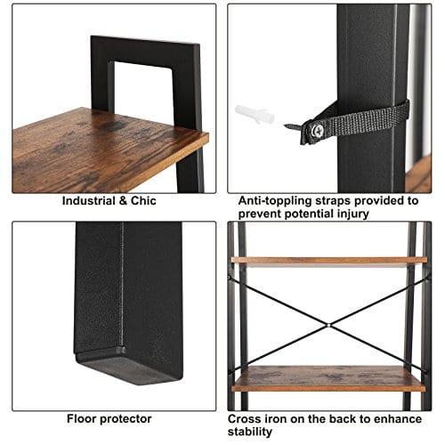 VASAGLE Vintage Ladder Shelf 4 Tier Bookshelf Storage Rack Shelf Unit Bathroom Living Room Wood Look Accent Furniture Metal Frame ULLS44X 0 3