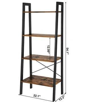 VASAGLE Vintage Ladder Shelf 4 Tier Bookshelf Storage Rack Shelf Unit Bathroom Living Room Wood Look Accent Furniture Metal Frame ULLS44X 0 4 300x360