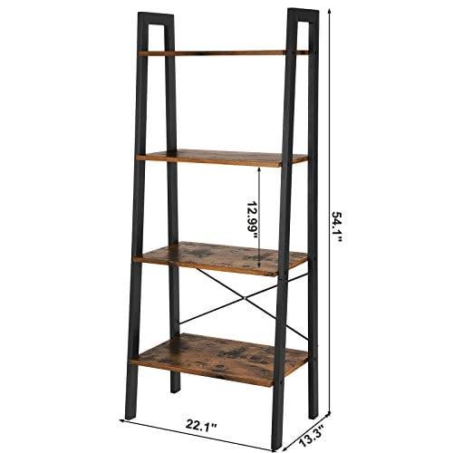 VASAGLE Vintage Ladder Shelf 4 Tier Bookshelf Storage Rack Shelf Unit Bathroom Living Room Wood Look Accent Furniture Metal Frame ULLS44X 0 4