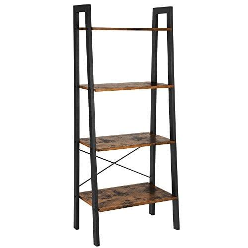 Vasagle Industrial Ladder Shelf 4 Tier Bookshelf Storage Rack Shelves Bathroom Living Room Wood Look Accent Furniture Metal Frame Rustic Brown