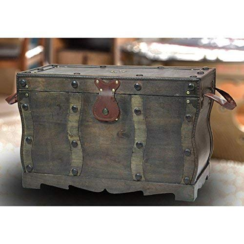 Vintiquewise QI003250L Antique Style Distressed Wooden Pirate Treasure Chest Coffee Table Trunk 0 0
