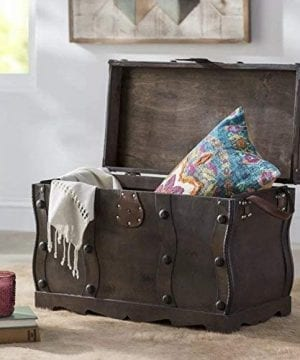 Vintiquewise QI003250L Antique Style Distressed Wooden Pirate Treasure Chest Coffee Table Trunk 0 1 300x360