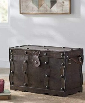 Vintiquewise QI003250L Antique Style Distressed Wooden Pirate Treasure Chest Coffee Table Trunk 0 3 300x360