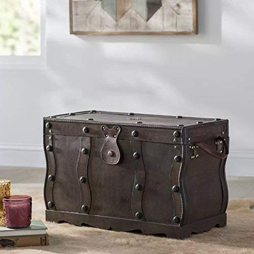 Vintiquewise QI003250L Antique Style Distressed Wooden Pirate Treasure Chest Coffee Table Trunk 0 3