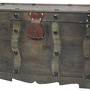 Vintiquewise QI003250L Antique Style Distressed Wooden Pirate Treasure Chest Coffee Table Trunk 0 300x305