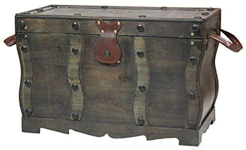 Vintiquewise QI003250L Antique Style Distressed Wooden Pirate Treasure Chest Coffee Table Trunk 0