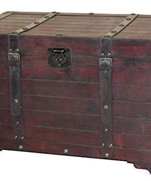 Vintiquewise QI003269L Antique Cherry Large Wooden Storage Trunk 0 300x360