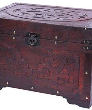 Vintiquewise QI003426L Cherry Wood Fretwork Detail Vintage Trunk 0 300x360