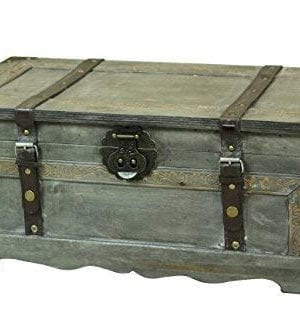 Vintiquewise Rustic Gray Wooden Storage Trunk 0 300x333