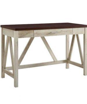 WE Furniture AZW46AFTB Rustic Desk 20 L X 46 W X 30 H White OakTraditional Brown 0 300x360