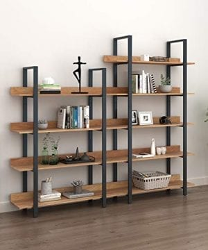 WLIVE 4 Tier Bookcase Industrial Book Shelf Wood And Metal Bookshelf Furniture Walnut 0 1 300x360