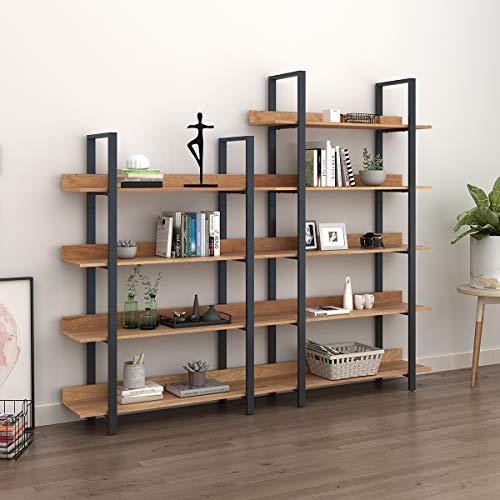WLIVE 4 Tier Bookcase Industrial Book Shelf Wood And Metal Bookshelf Furniture Walnut 0 1