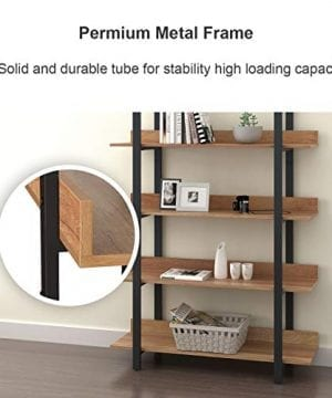 WLIVE 4 Tier Bookcase Industrial Book Shelf Wood And Metal Bookshelf Furniture Walnut 0 2 300x360