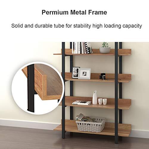 WLIVE 4 Tier Bookcase Industrial Book Shelf Wood And Metal Bookshelf Furniture Walnut 0 2