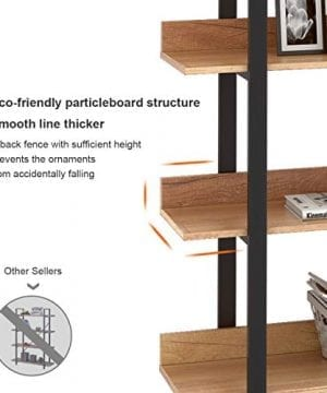 WLIVE 4 Tier Bookcase Industrial Book Shelf Wood And Metal Bookshelf Furniture Walnut 0 3 300x360