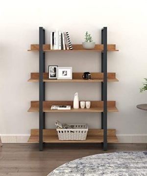 WLIVE 4 Tier Bookcase Industrial Book Shelf Wood And Metal Bookshelf Furniture Walnut 0 300x360