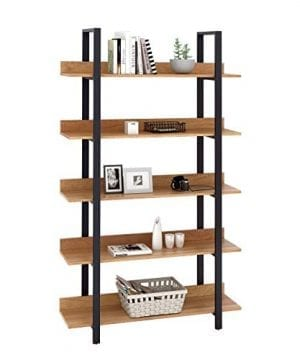 WLIVE 5 Tier Bookcase Industrial Book Shelf Wood And Metal Bookshelf Furniture Walnut 0 0 300x360