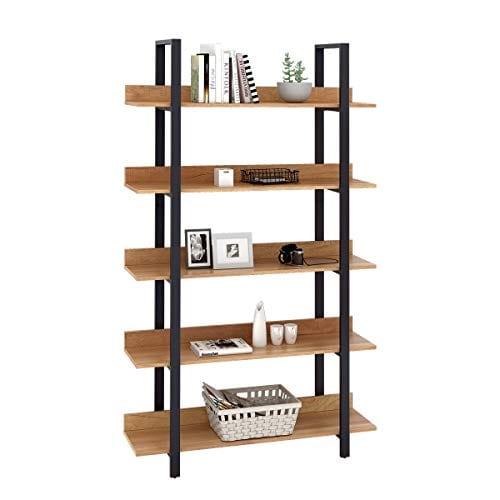 WLIVE 5 Tier Bookcase Industrial Book Shelf Wood And Metal Bookshelf Furniture Walnut 0 0