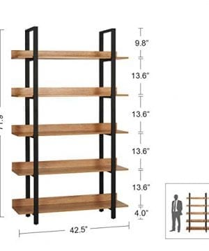 WLIVE 5 Tier Bookcase Industrial Book Shelf Wood And Metal Bookshelf Furniture Walnut 0 1 300x360