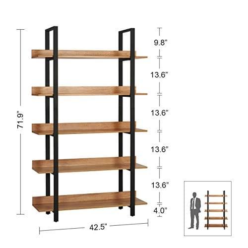 WLIVE 5 Tier Bookcase Industrial Book Shelf Wood And Metal Bookshelf Furniture Walnut 0 1