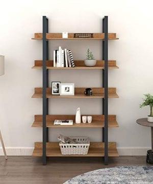 WLIVE 5 Tier Bookcase Industrial Book Shelf Wood And Metal Bookshelf Furniture Walnut 0 300x360