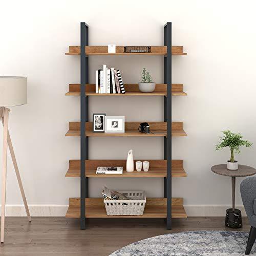 WLIVE 5 Tier Bookcase Industrial Book Shelf Wood And Metal Bookshelf Furniture Walnut 0
