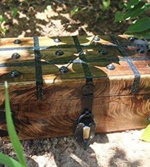 WellPackBox Wood Treasure Chest Trunk Decorative Box Rustic Wedding Card Antique Style Lock And Key 0 0 300x333