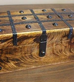 WellPackBox Wood Treasure Chest Trunk Decorative Box Rustic Wedding Card Antique Style Lock And Key 0 1 300x331