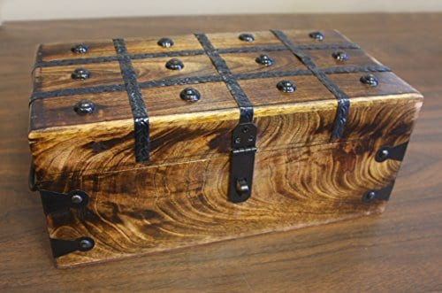 WellPackBox Wood Treasure Chest Trunk Decorative Box Rustic Wedding Card Antique Style Lock And Key 0 1