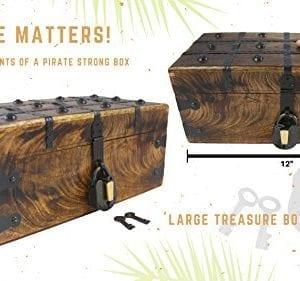 WellPackBox Wood Treasure Chest Trunk Decorative Box Rustic Wedding Card Antique Style Lock And Key 0 3 300x281