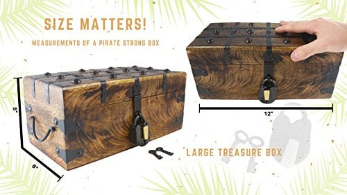WellPackBox Wood Treasure Chest Trunk Decorative Box Rustic Wedding Card Antique Style Lock And Key 0 3