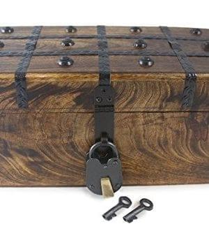 WellPackBox Wood Treasure Chest Trunk Decorative Box Rustic Wedding Card Antique Style Lock And Key 0 300x344