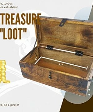 WellPackBox Wood Treasure Chest Trunk Decorative Box Rustic Wedding Card Antique Style Lock And Key 0 4 300x360