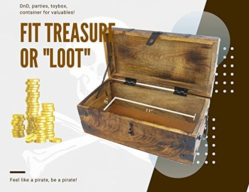 WellPackBox Wood Treasure Chest Trunk Decorative Box Rustic Wedding Card Antique Style Lock And Key 0 4