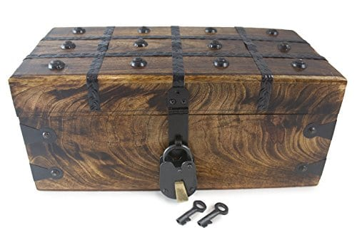 WellPackBox Wood Treasure Chest Trunk Decorative Box Rustic Wedding Card Antique Style Lock And Key 0