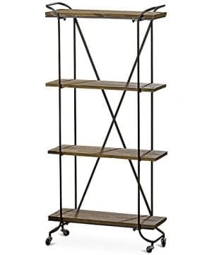 Whole House Worlds The Stockbridge Rolling Rack With 4 Shelves Etagere Wheels Black Metal And Dark Rustic Wood Approx 2 Ft Long X 5 Ft High 27 L X 11 W X 59 H Inches 0 300x360