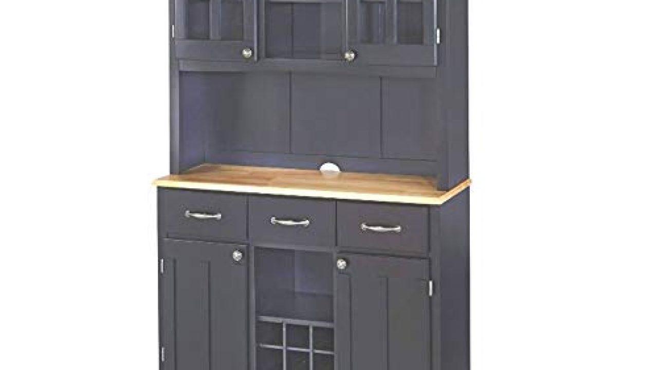 Farmhouse Buffet Cabinet Black Hardwood Large Natural Wood Top Hutch Adjustable Shelf Drawers Wine Rack Kitchen Dining Farmhouse Goals