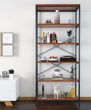Shaofu 5 Tier Industrial Style Bookshelf And Bookcase Vintage 5 Shelf Industrial Bookshelf Furniture US Stock 0 0 300x360