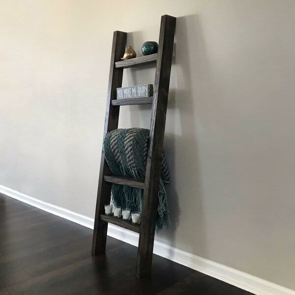 60_+Farmhouse+Shelf+Ladder+for+Small+Decor+and+Blankets