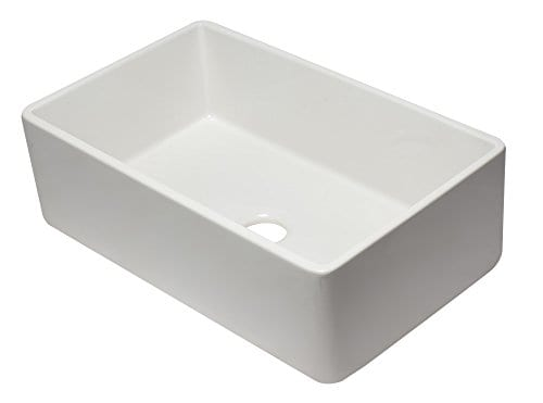 ALFI Brand AB3320SB W 33 Inch White Reversible Single Fireclay Farmhouse Kitchen Sink 0