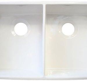 ALFI Brand AB512 32 Inch Double Bowl Fireclay Farmhouse Kitchen Sink With 1 34 Inch Lip White 0 2 300x282